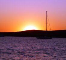 Paros Island, Greece - Sunset Behind Boat Sticker