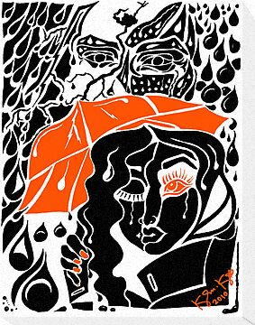 'Rain On Me In The Blackground ~ Orange Eye' Pieces Art™ by Kayla Napua Kong