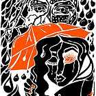 'Rain On Me In The Blackground ~ Orange Eye' Pieces Art™ by Kayla Napua Kong