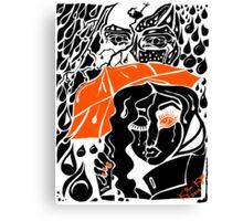 'Rain On Me In The Blackground ~ Orange Eye' Pieces Art™ Canvas Print
