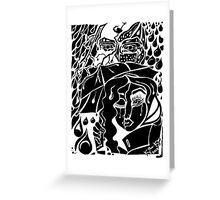 'Rain On Me In The Blackground ~ black on white' Pieces Art™ Greeting Card
