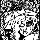 'Rain On Me In The Blackground ~ white on black' Pieces Art™ by Kayla Napua Kong