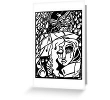'Rain On Me In The Blackground ~ white on black' Pieces Art™ Greeting Card