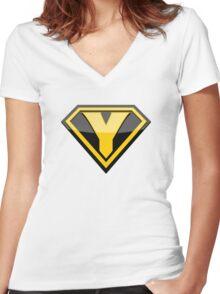 Captain Yellow shirt Women's Fitted V-Neck T-Shirt