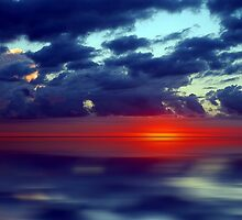 Over the Edge Sunset by David Alexander Elder