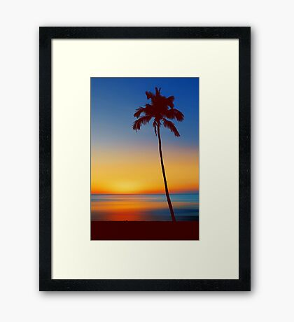 Palm Tree Beach Sunset Framed Print