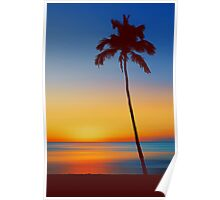Palm Tree Beach Sunset Poster