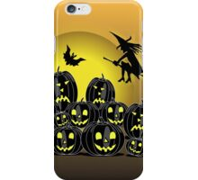 Witch and Pumpkins in front of a full moon iPhone Case/Skin