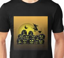 Witch and Pumpkins in front of a full moon Unisex T-Shirt