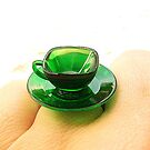 Clear Green Tea Cup And Saucer by souzoucreations