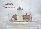 Merry Christmas Card - Nobska Point Lighthouse MA by MotherNature