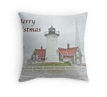 Merry Christmas Card - Nobska Point Lighthouse MA Throw Pillow