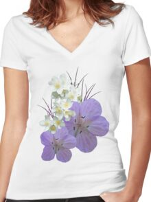 Pink and white flowers Women's Fitted V-Neck T-Shirt
