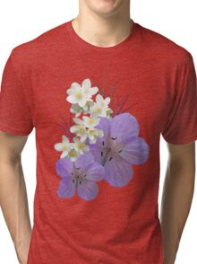 Pink and white flowers Tri-blend T-Shirt