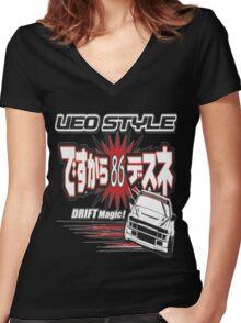 Ae86 Ueo Drift Magic Women's Fitted V-Neck T-Shirt