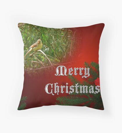 Merry Christmas Card - Female Cardinal Songbird Throw Pillow