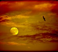 Full Moon, Red Sky by Marc Garrido Clotet