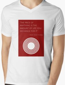 """""""The price of anything is the amount of life you exchange for it"""" – Henry David Thoreau Mens V-Neck T-Shirt"""