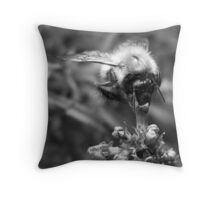 Scruffy Bee Throw Pillow