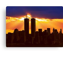Heavenly Sunburst above the Twin Towers Canvas Print