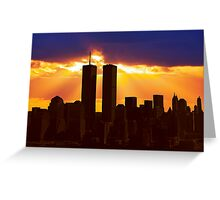 Heavenly Sunburst above the Twin Towers Greeting Card