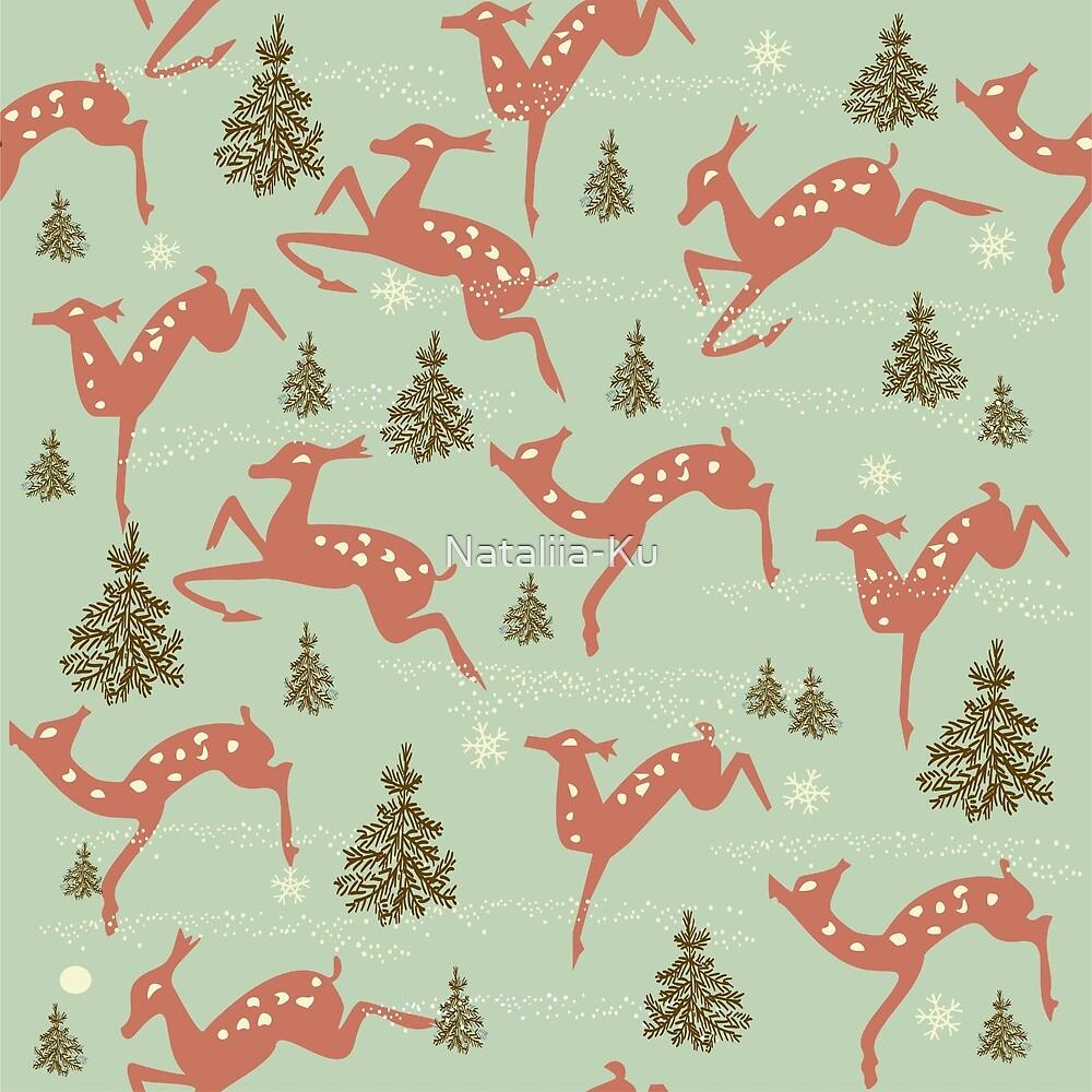 dears runnng in winter by Nataliia-Ku