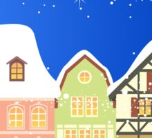 Snowy Houses Christmas Card - Holiday Saying Sticker