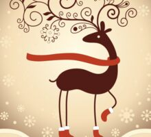 Elegant Reindeer Christmas Card - Happy Holidays Sticker