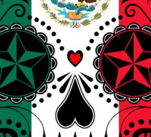 Sugar Skull with Roses and Flag of Mexico Sticker
