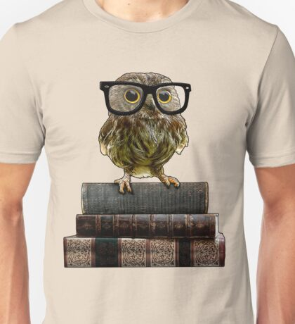 Adorable Nerdy Owl with Glasses Unisex T-Shirt