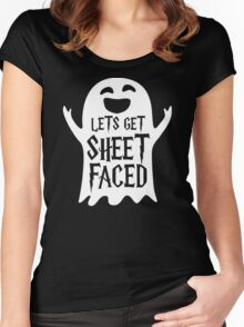 Lets Get Sheet Faced Ghost Funny Humor Halloween Costume Adult - Men's T-Shirt Women's Fitted Scoop T-Shirt