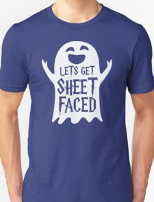 Lets Get Sheet Faced Ghost Funny Humor Halloween Costume Adult - Men's T-Shirt T-Shirt