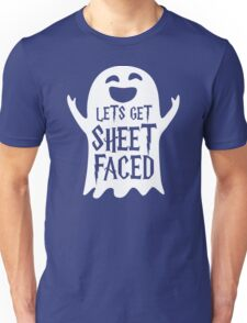 Lets Get Sheet Faced Ghost Funny Humor Halloween Costume Adult - Men's T-Shirt Unisex T-Shirt