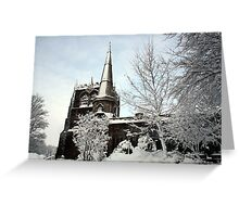 Ormskirk Parish Church - Snow Scene Greeting Card