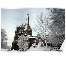 Ormskirk Parish Church - Snow Scene Poster