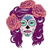 Colorful Sugar Skull Woman by Crystal-Rain