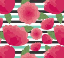 Peonies and stripes Sticker