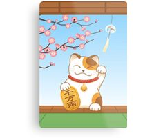 Japanese Lucky Cat, Calico Maneki Neko Metal Print