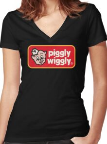 Piggly Wiggly T-shirt retro 70's 80's vintage country 100% cotton graphic tee Women's Fitted V-Neck T-Shirt