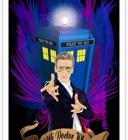 Time and Space Traveller with Rainbow Ray Ban Glasses Sticker