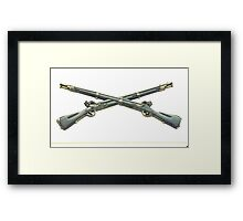 U.S. Infantry Cross Rifles Insignia Bronze Sculpture Framed Print