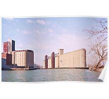 Grain elevators on the Buffalo River Poster