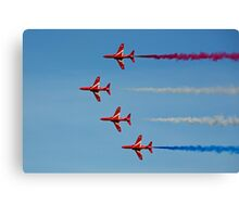 The Red Arrows sideways on Canvas Print