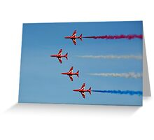 The Red Arrows sideways on Greeting Card
