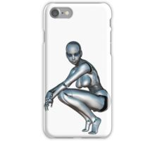 Young robotic girl squatting iPhone Case/Skin