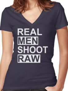 Real Men Shoot Raw Funny Photography T Shirt Cute Photographer Gift Tee Shirt Women's Fitted V-Neck T-Shirt