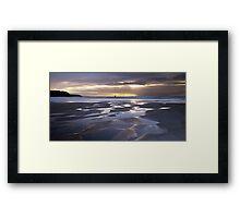 Sunset at Perranporth Beach Framed Print