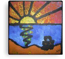 'Lovers Watching A Beach Sunset' Canvas Print