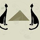 Two cats with pyramid on gray background by Ludmilka
