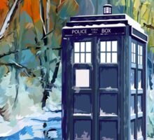 Snowy Blue phone box at winter zone Sticker